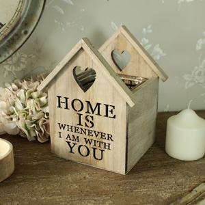 Wooden House Heart Tea Light Candle Holder