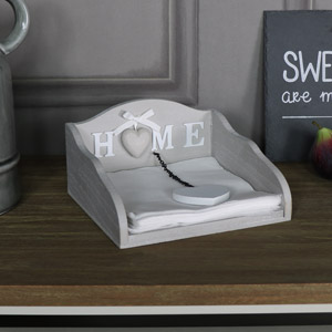Wooden Napkin Holder with Heart Motif