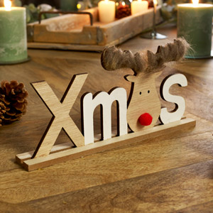 Wooden Reindeer Xmas Sign