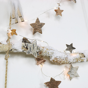 Wooden Star LED String Lights