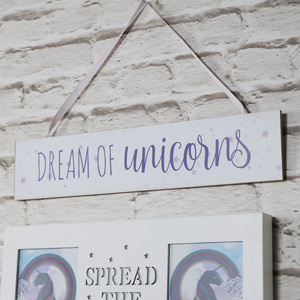 Wooden Wall Plaque 'Dream of Unicorns'