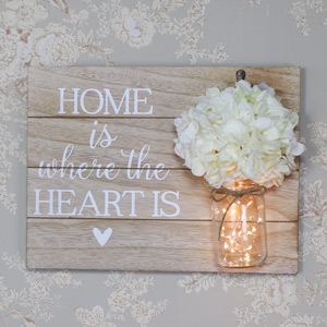 "Wooden Wall Plaque ""Home Is Where the Heart Is"""