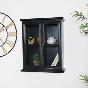 Rustic Black Glass Wall Cabinet