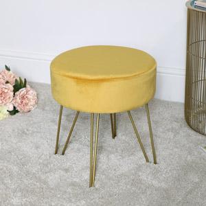 Yellow Velvet Stool with Gold Legs