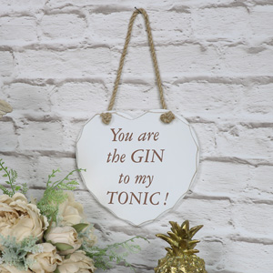 'You Are The Gin To My Tonic' Hanging Heart