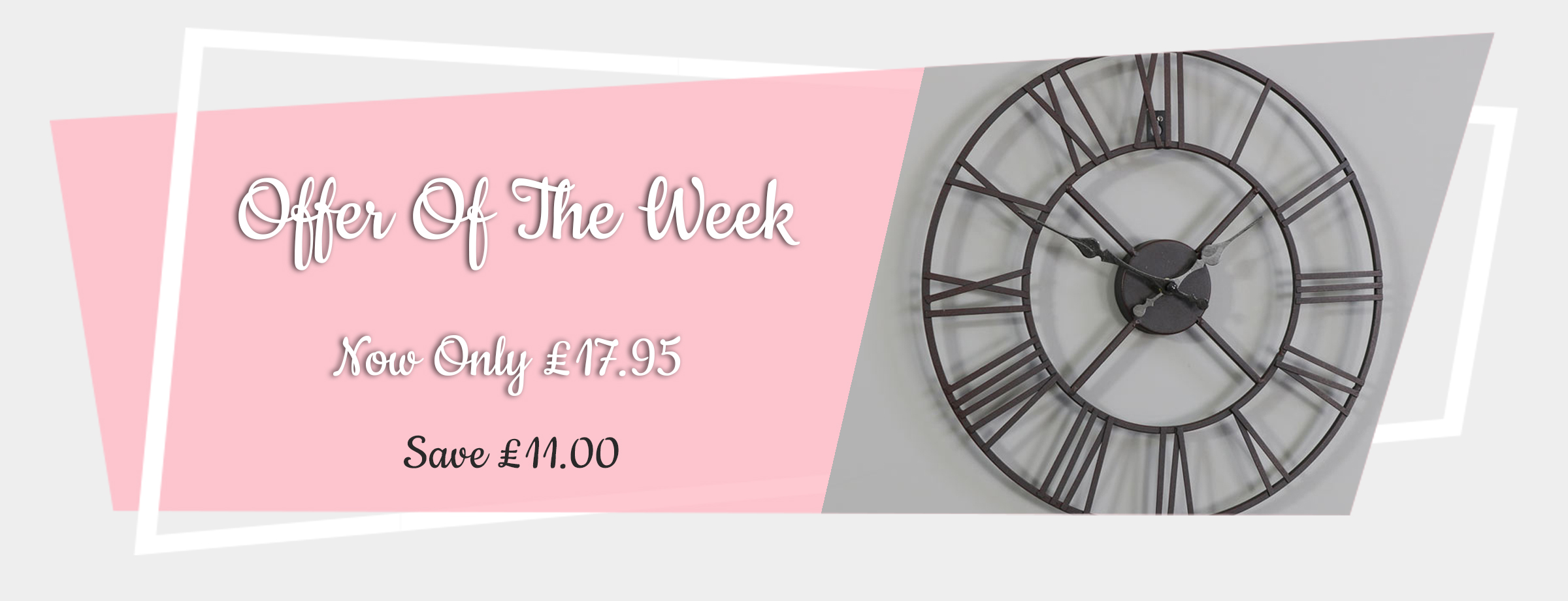 Offer of the Week - Rustic Black Skeleton Wall Clock with Roman Numerals 40cm x 40cm