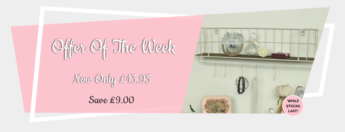 Offer of the Week (Cream Metal Wall Shelf with Hooks)